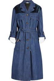Velvet-paneled denim coat