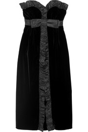 Ruffled silk taffeta-trimmed velvet midi dress