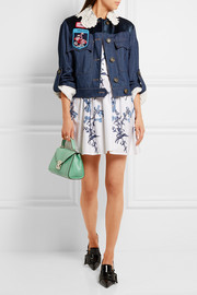 Miu Miu Embellished velvet-paneled denim jacket