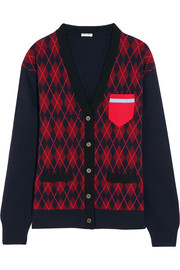 Oversized argyle wool cardigan