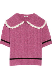 Crochet-trimmed cable-knit wool sweater