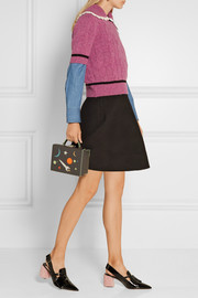 Miu Miu Crochet-trimmed cable-knit wool sweater