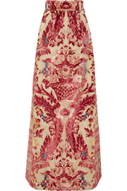 Miu Miu Devoré silk and cotton-blend maxi skirt