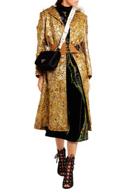 Hooded metallic floral-jacquard coat