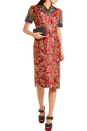 Prada Metallic floral-jacquard midi dress