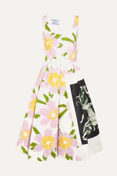 Prada - Appliquéd Silk-faille Dress - White
