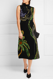 Prada Appliquéd paneled velvet dress