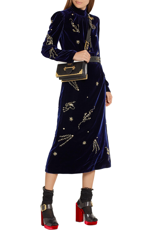 Prada Embellished velvet midi dress