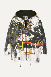 Printed silk-faille hooded jacket