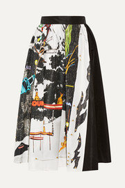 Printed silk-faille midi skirt