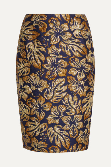 Prada - Metallic Floral-jacquard Pencil Skirt - Navy