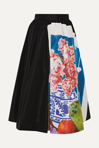 Prada - Printed Silk-faille Midi Skirt - Black
