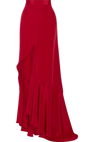 Juan Carlos Obando - Mariposa Asymmetric Silk-satin Maxi Skirt - Red