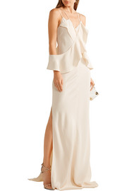 Eiza ruffled silk-crepe gown