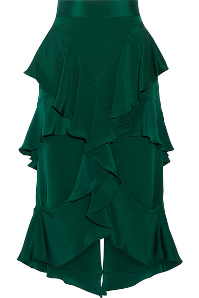 Juan Carlos Obando - Miranda Tiered Ruffled Silk-crepe Midi Skirt - Emerald