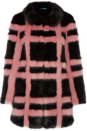 Edith checked faux fur coat