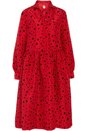 Gerald polka-dot flocked taffeta midi dress