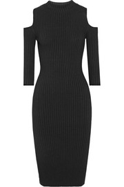 Maje Cutout ribbed-knit dress