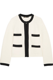 Grosgrain-trimmed cotton-blend jacket