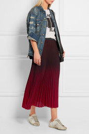 Jonael pleated ombré crepe midi skirt