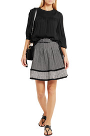 Flared stretch jacquard-knit mini skirt