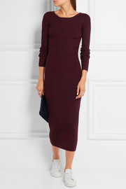 Maje Ribbed-knit midi skirt