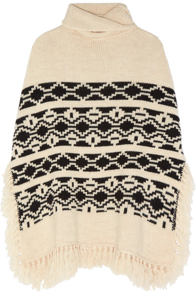 maje female  maje fringed intarsia knitted poncho ecru