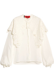 Cape-effect appliquéd broderie anglaise silk blouse