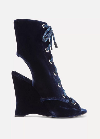 Prada - Lace-up Velvet Ankle Boots - Navy