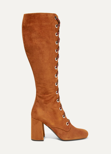 Prada - Lace-up Suede Knee Boots - Brown