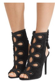 Tasseled cutout suede sandals