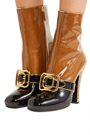 Buckled two-tone patent-leather boots