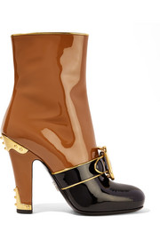 Prada Buckled two-tone patent-leather boots