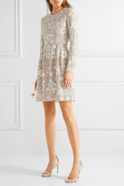 Snowdrop embellished embroidered georgette mini dress