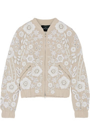 Snowdrop embellished embroidered georgette bomber jacket