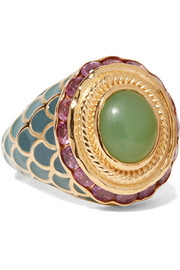 Percossi Papi Gold, chrysoprase and ruby ring