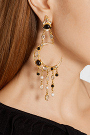 Diego Sun and Moon gold-plated multi-stone earrings