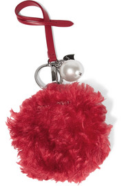 Faux pearl-embellished shearling and leather keychain