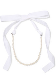 Silver-tone, faux pearl and poplin necklace