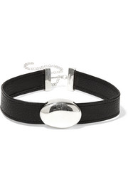 Anais textured-leather and silver choker