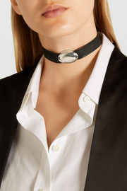 Sophie Buhai Anais textured-leather and silver choker