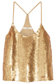 Éclair sequined silk-georgette camisole