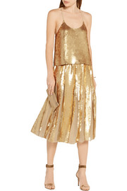 Tibi Éclair sequined silk-georgette camisole