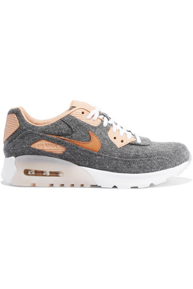 Nike - Air Max 90 Ultra Premium Leather-trimmed Felt Sneakers - Anthracite