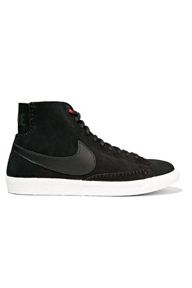 ... Nike | Blazer Mid suede and shearling high-top sneakers | NET-A-