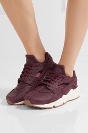 Air Huarache Run embossed leather and mesh sneakers