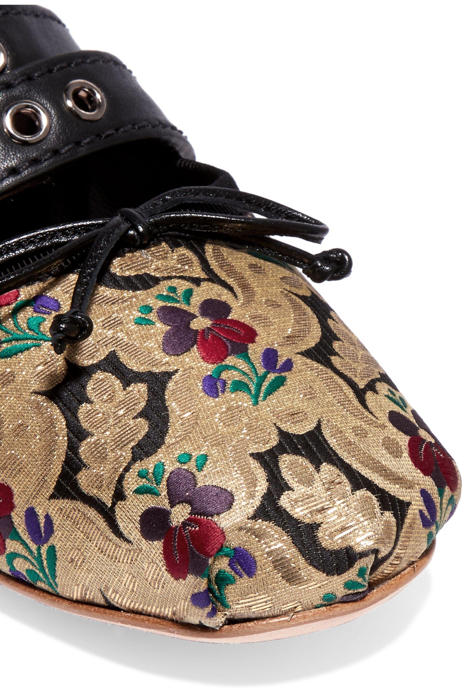 Miu Miu Lace-up leather-trimmed brocade ballet flats