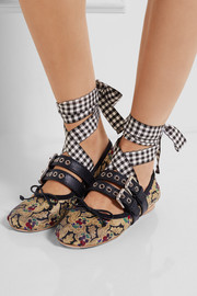 Miu Miu Lace-up leather-trimmed brocade ballet flats