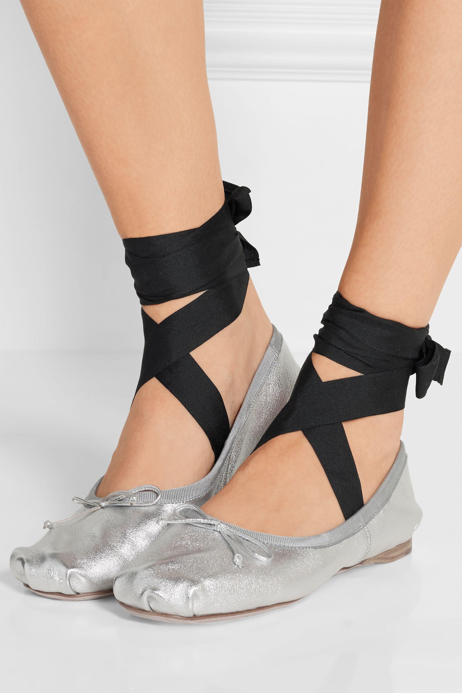 Miu Miu Lace-up grosgrain-trimmed metallic leather ballet flats