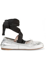 Miu Miu Lace-up grosgrain-trimmed metallic leather ballet flats